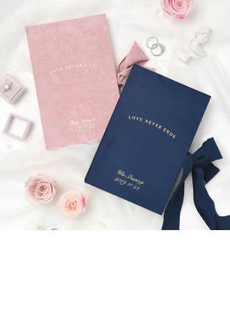 Bride Gaver - Personaliseret Fascinerende Yndefuld Omslagstempling Pap Papir Suede Vow Booklet