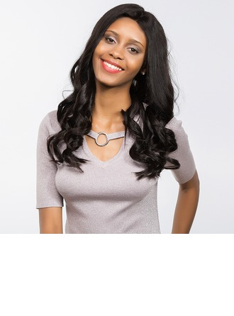 4A Non remy Wavy Human Hair Full Lace Cap Wigs 170g