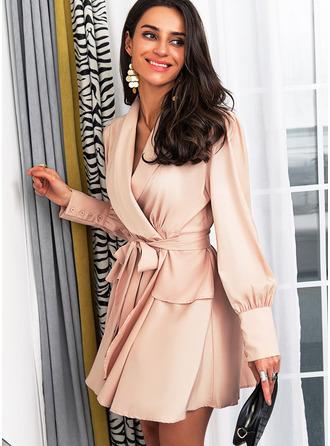 Jednolity Sukienka Trapezowa Długie rękawy Mini Elegancki Łyżwiaż Okrycie Modne Suknie