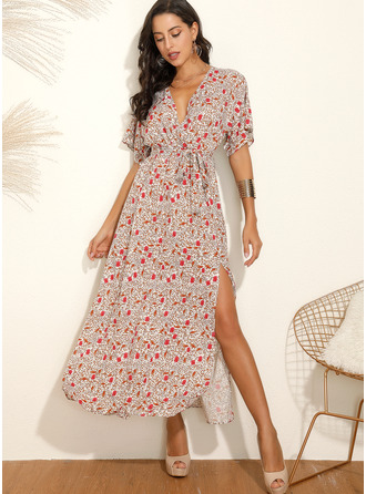 Maxi V neck Polyester Print Short Sleeves Fashion Dresses