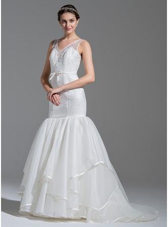 Trompete/Sereia Decote V Sweep/Brush trem Organza de Renda Vestido de noiva com Bordado lantejoulas Curvado