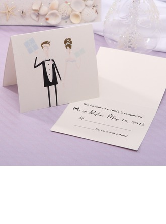 Personlig Bride & Groom stil Top Vik Svarskort (Set om 20)