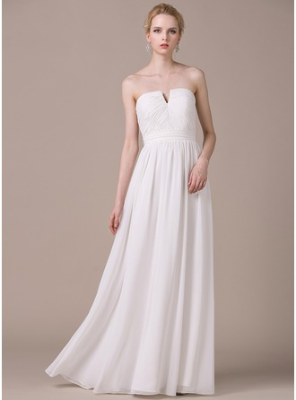 A-Line/Princess Strapless Floor-Length Chiffon Wedding Dress With Ruffle Bow(s)