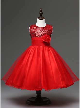 Ball Gown/Empire Knee-length Flower Girl Dress - Tulle/Sequined/Cotton Blends Sleeveless Jewel With Flower(s)