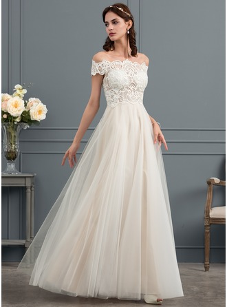 A-Line/Princess Off-the-Shoulder Floor-Length Tulle Wedding Dress