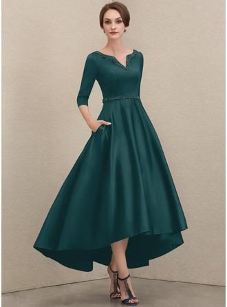 Трапеция V-образный асимметричный Атлас Платье Для Матери Невесты с развальцовка блестки Карманы