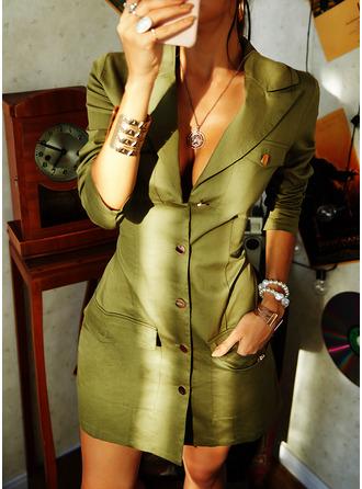 Solid Manşon Mâneci Lungi Mini gündelik Moda Elbiseler