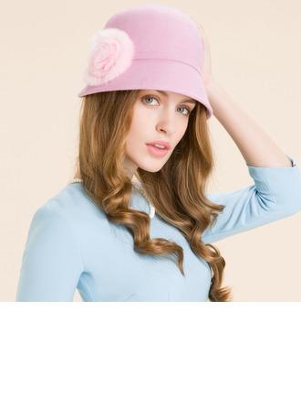 Ladies' Elegant Wool With Flower Bowler/Cloche Hat