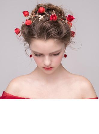 Senhoras Elegante Cristal/Liga/Flor de seda Tiaras com Cristal