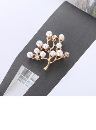 Hermoso Aleación Diamantes de imitación La perla de faux con Perlas de imitación Señoras' Broches de la manera (Sold in a single piece)