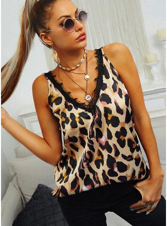 Leopardo Encaje Cuello en V Sin mangas Casual Camisetas sin mangas