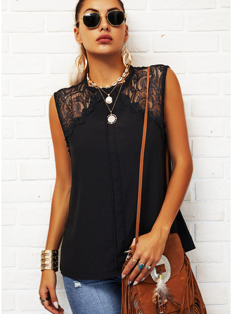 Lace Solid Round Neck Sleeveless Casual Tank Tops