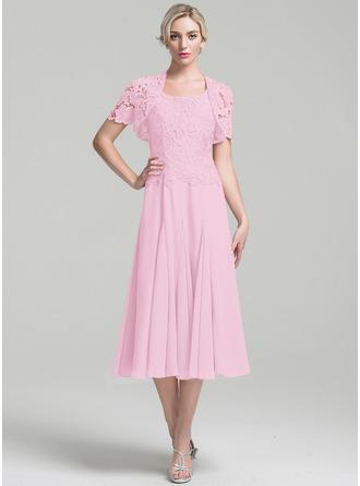 Трапеция квадратный вырез Длина ниже колен шифон Платье Для Матери Невесты