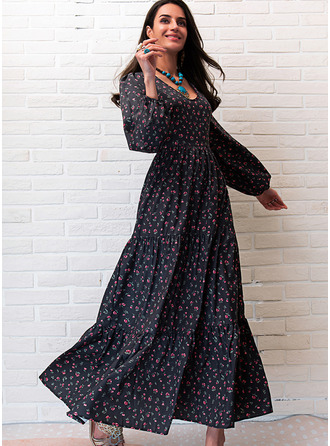 Print A-line Long Sleeves Maxi Casual Skater Dresses