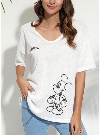 Animalske Udskriv V-hals 1/2 ærmer Casual T-shirt