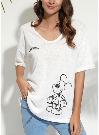 Dier Afdrukken V-hals 1/2 Mouwen Casual t-shirt