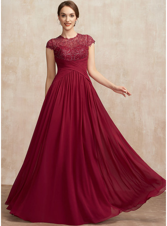 A-Line Scoop Neck Floor-Length Chiffon Lace Mother of the Bride Dress With Ruffle Sequins