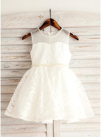 Forme Princesse Court/Mini Robes à Fleurs pour Filles - Dentelle Sans manches Col rond avec Brodé