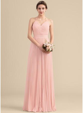 A-Line/Princess Sweetheart Floor-Length Chiffon Bridesmaid Dress With Pleated