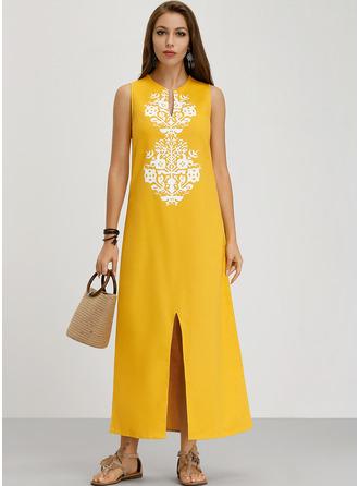 Print Shift Sleeveless Maxi Boho Casual Vacation Tank Dresses
