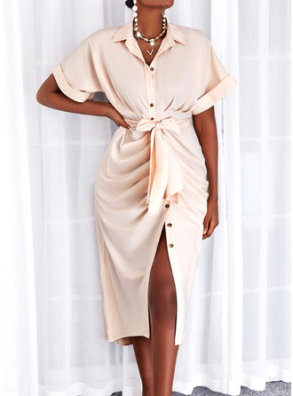 Solid Sheath 1/2 Sleeves Maxi Casual Shirt Dresses