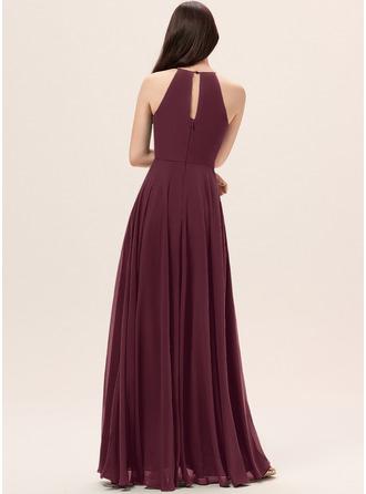 A-Line Scoop Neck Floor-Length Chiffon Bridesmaid Dress