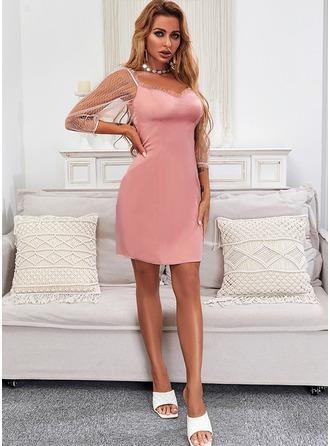 Solid Sheath 3/4 Sleeves Mini Elegant Dresses