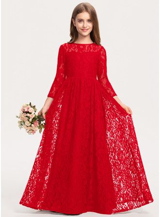 A-Line Scoop Neck Floor-Length Lace Junior Bridesmaid Dress