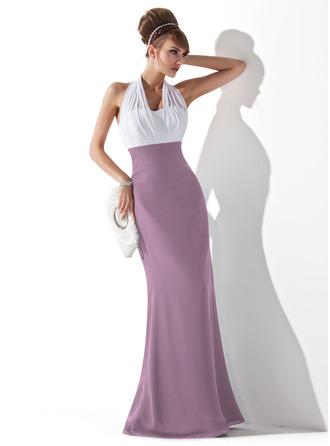 Empire Halter Floor-Length Chiffon Evening Dress With Ruffle