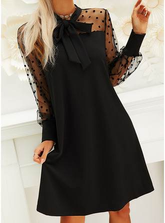 PolkaDot Solid Shift Long Sleeves Puff Sleeves Mini Little Black Party Dresses