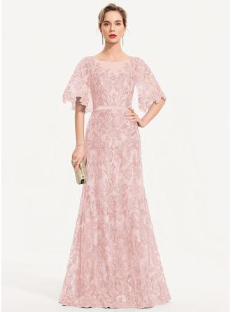 Sheath/Column Scoop Neck Floor-Length Lace Evening Dress