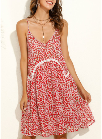 Print Shift Sleeveless Mini Boho Casual Vacation Type Dresses