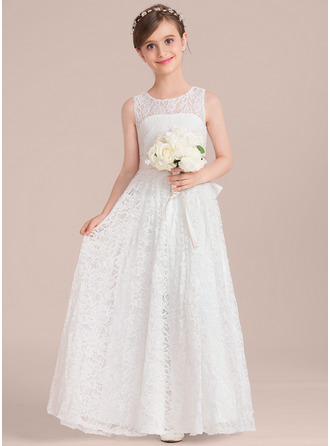 A-Line Floor-length Flower Girl Dress - Satin/Lace Sleeveless Scoop Neck With Sash/Bow(s)