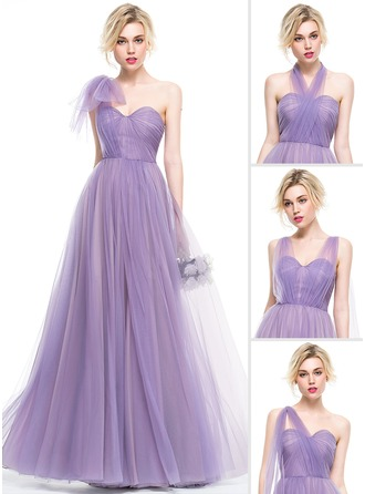 A-Line/Princess Sweetheart Floor-Length Tulle Bridesmaid Dress With Ruffle