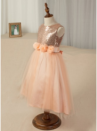 A-Line/Princess Tea-length Flower Girl Dress - Tulle/Sequined Sleeveless Scoop Neck With V Back