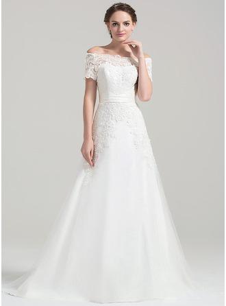 Vestidos princesa/ Formato A Off-the-ombro Cauda de sereia Tule Renda Vestido de noiva
