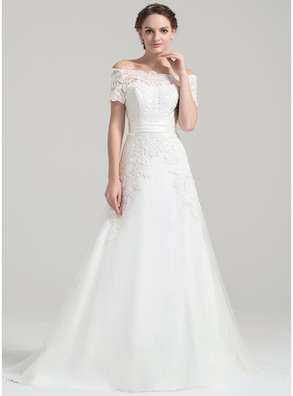 A-Line/Princess Off-the-Shoulder Court Train Tulle Lace Wedding Dress