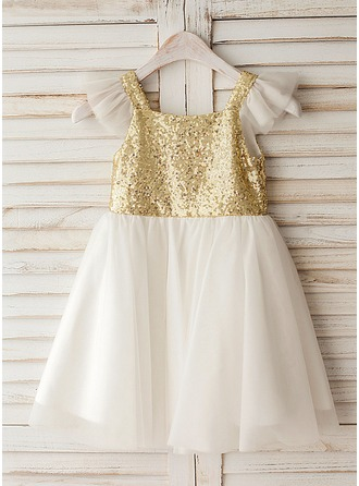 A-Line/Princess Knee-length Flower Girl Dress - Tulle/Sequined Short Sleeves Square Neckline With Sequins