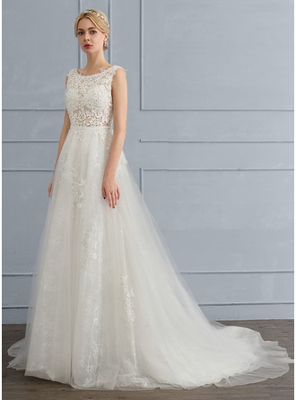 A-Line/Princess Scoop Neck Court Train Tulle Wedding Dress With Beading