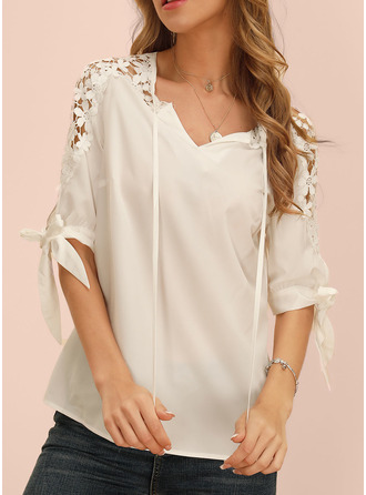 Solid V-Neck 1/2 Sleeves Casual Elegant