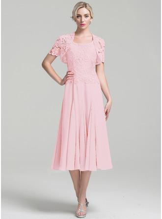 A-Linie/Princess-Linie Rechteckiger Ausschnitt Wadenlang Chiffon Kleid für die Brautmutter