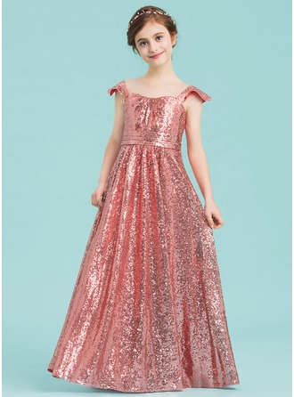 A-Line/Princess Sweetheart Floor-Length Sequined Junior Bridesmaid Dress With Ruffle