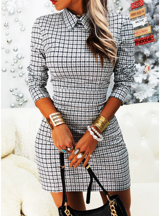 Plaid Bodycon Long Sleeves Mini Elegant Dresses