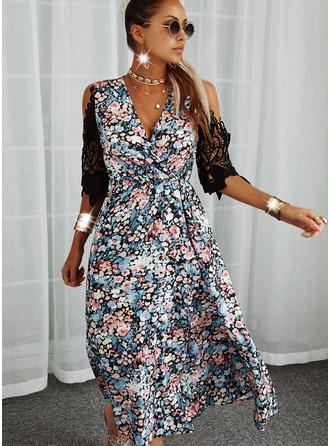 Blommig Spets Print Shiftklänningar 3/4 ärmar Mini Fritids Tunika Modeklänningar