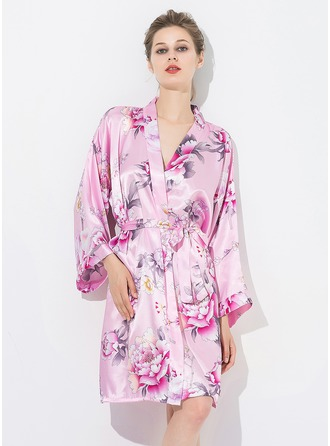 Bride Bridesmaid With Knee-Length Floral Robes