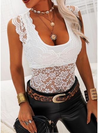 Lace Solid V-Neck Cap Sleeve Casual Tank Tops