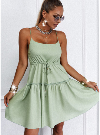 Solid Backless A-line Sleeveless Mini Casual Skater Type Dresses