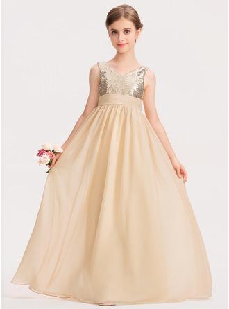A-Linie V-Ausschnitt Bodenlang Chiffon Pailletten Kleid für junge Brautjungfern mit Rüschen