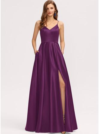 A-Line V-neck Floor-Length Satin Evening Dress With Pockets