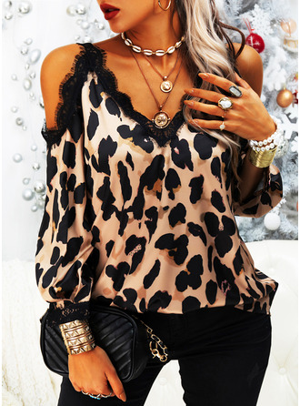 Leopard Lace Cold Shoulder Long Sleeves Casual Blouses